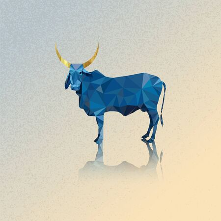 3d Indian blue cow and golden horns vector illustration Polygonal art 10 eps Ilustracja
