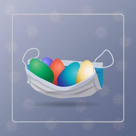 Vector illustration. Easter eggs in a medical mask. Coronavirus pandemic. COVID-19 . Easter. Zdjęcie Seryjne - 145254714