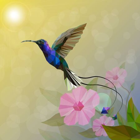 Isolated of Low poly colorful Hummingbird and flower