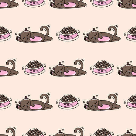 colored seamless pattern with fanny little cats and bowl of food vector image background