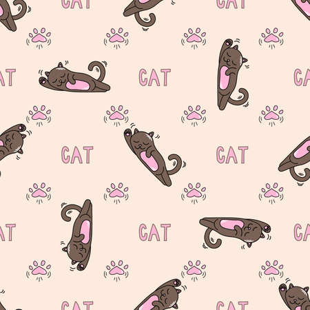 seamless pattern with fanny little cats, text and cats paws vector image background