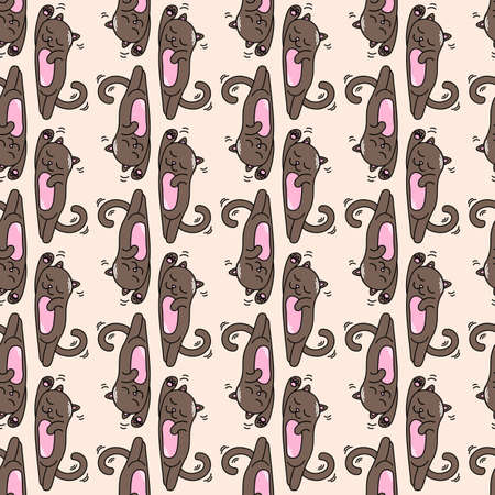 cartoon fanny little cats vector colored seamless pattern