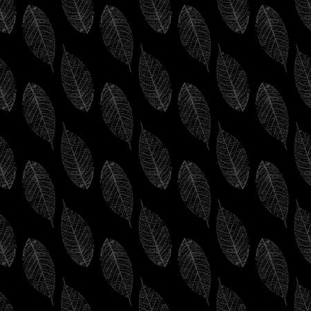 seamless pattern with stylized skeletonized gray Leaves . Vector,