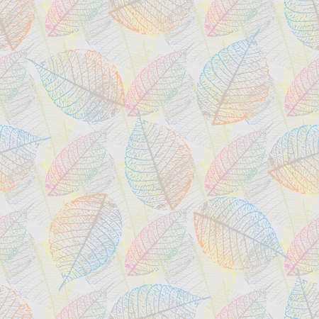 stylized multicolored skeletonized leaf seamless pattern. Vector,