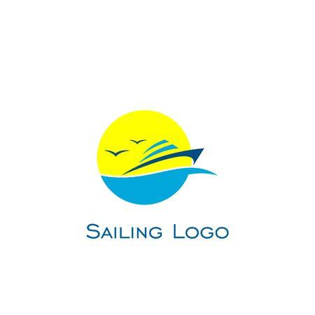 Sailboat logo vector. ocean logo.