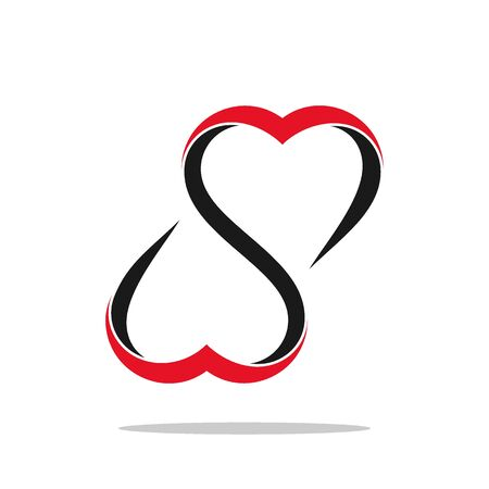 Double heart logo. heart vector graphic design. Illustration