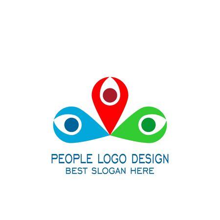 People meeting point logo, teamwork logo design. colorful.
