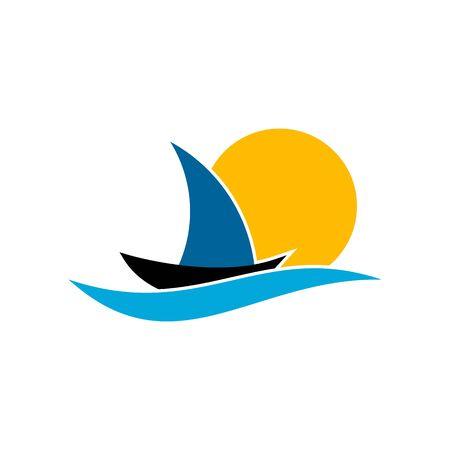 Sea logo, ocean logo, sailboat vector graphic design, vector illustrations.