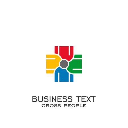 Cross team work logo. cross people vector graphic design.