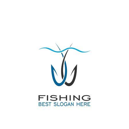 Hook logo design, fishing logo, hook vector graphic design.