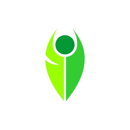 leaf people vector graphic design, people active logo, yoga logo design.