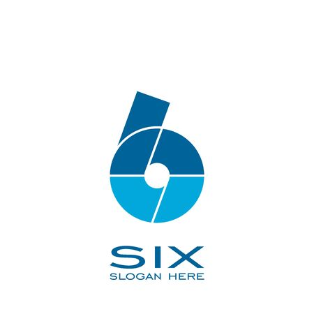 Six logo design, 6 number logo vector graphic design.