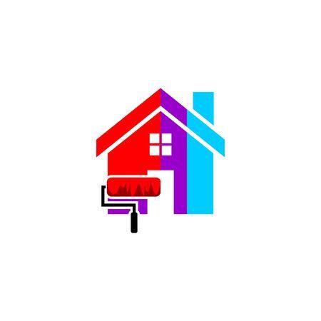 house paint services logo flat design.