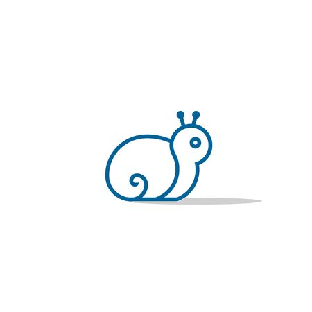 Snail logo vector, snail vector graphic design, line concept with blue color.