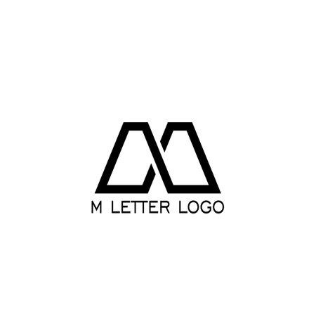 M letter logo design, flat logo M vector line style with black color. Çizim