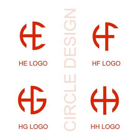 set letter logo, HE HF HG HH letter logo, company logo design. Logó