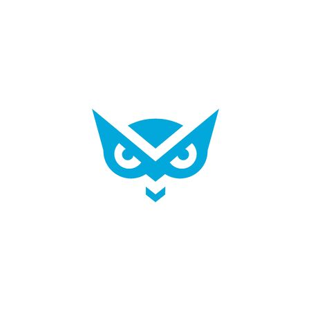 Owl logo vector, owl eye graphic design. with blue color isolated on white background. Illustration