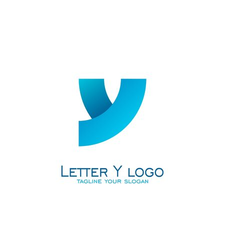 Letter y logo design, circle square concept, with blue color. Illustration