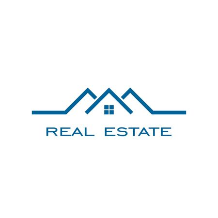 Real estate logo , line concept with blue color.