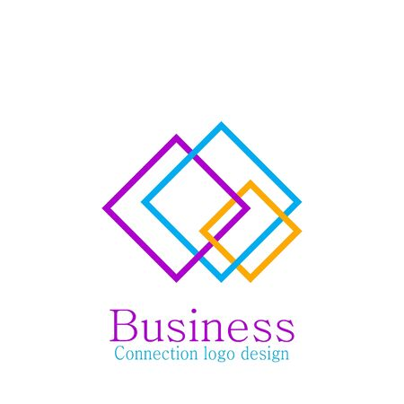 Business connecting logo, some square, colorful design.