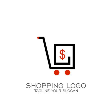 Shopping logo design, cart with dollar icons, line concept. Illustration
