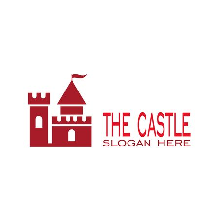 Castle logo design, with red color, vector icons. Illustration