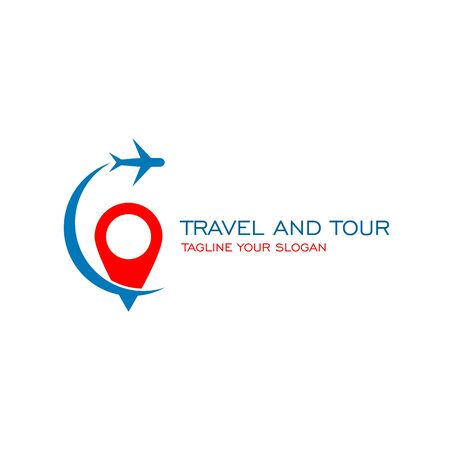Travel and tour logo, with airplane icon. Illustration