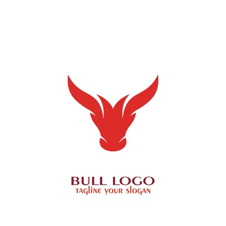 Bull logo, bull head icon with red color.
