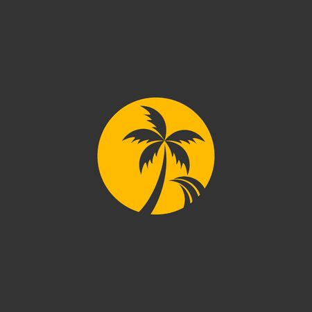 Beach logo vector, isolated on black background.