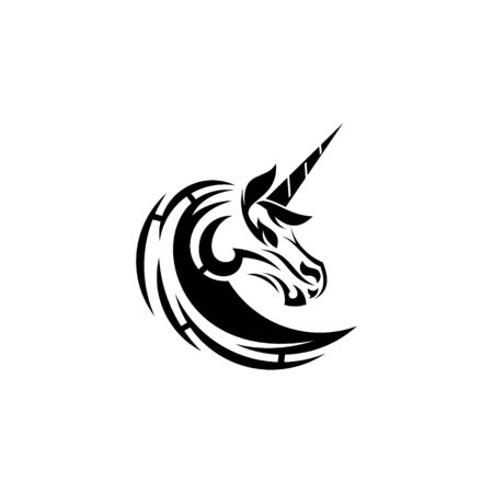 Tribal Unicorn tattoo vector graphic design.