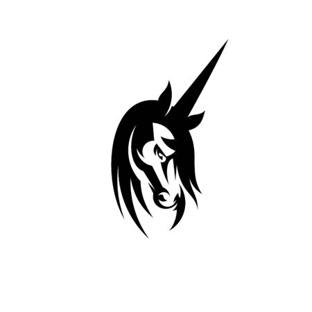 Unicorn head vector silhouette graphic design. unicorn logo design.