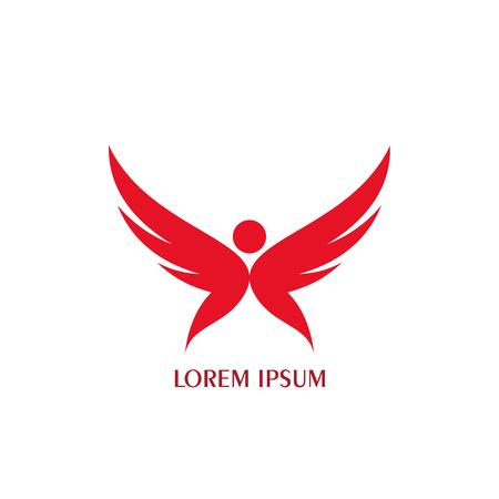 People wings logo graphic flat design. Illustration