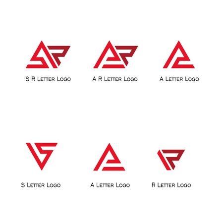 Set letter logo, SR, AR, A, S, R logo triangle flat design.