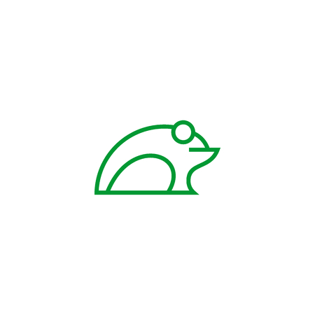 Frog logo vector, simple frog vector line style with green color.