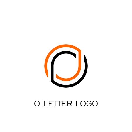 O letter logo line concept, circle logo vector graphic design.
