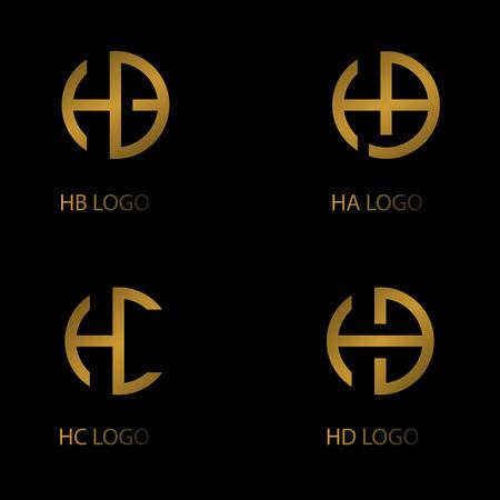 impostare il logo della lettera, il logo della lettera HA HB HC HD, il logo dell'azienda.