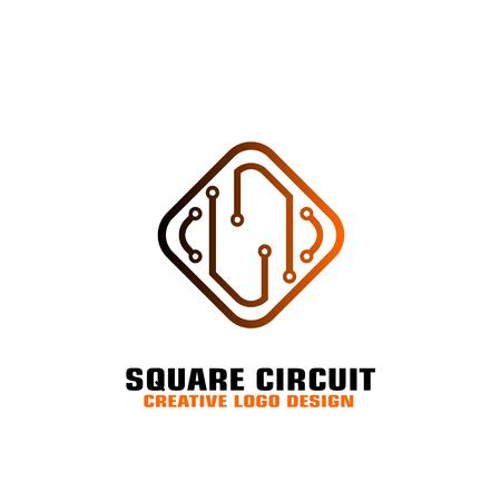 placa de circuito cuadrada. Diseño de vector de logotipo de microprocesador electrónico. Logos