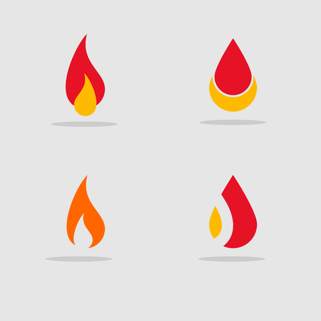 abstract fire graphic logo template, flame icons set.