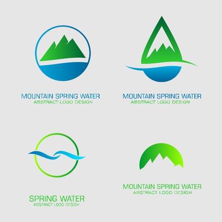 Mountain spring water logos set. Illustration