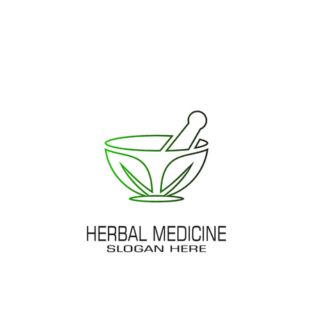 Herbal medicine graphic logo template, isolated on white background.