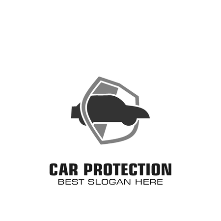 Car protection logo, Car protection technology graphic logo template. Illustration