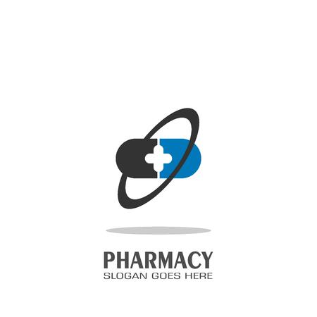 Pharmacy logo vector design, medical logo template. Illustration