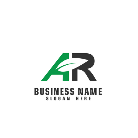 AR leaf logo, initial letter AR graphic logo template. Иллюстрация
