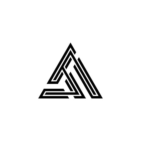Creative triangle graphic logo template, initial letter A logo concept, isolated on white background. Logo
