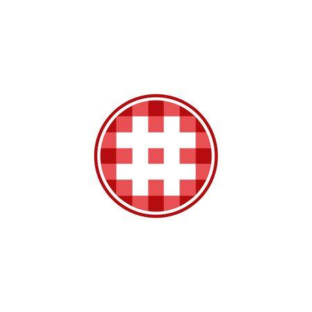 Circle digital logo, pixel hashtag design concept, isolated on white background.
