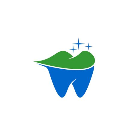 Tooth logo with the concept of a mountain on it, a symbol of nature, which represents the naturalness of the technology of dental care formula. Vettoriali