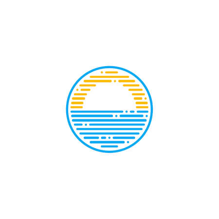 Ocean logo, combination of sun and sea water design element, with dashed line concept, isolated on white background.	 Illustration