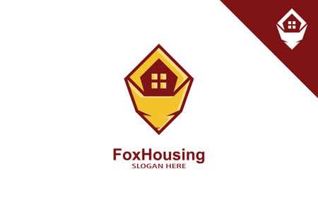 Fox Housing Logo Design Concept.  イラスト・ベクター素材