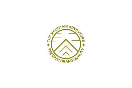 Linear vintage mountain logo, badge and emblem. Ilustrace