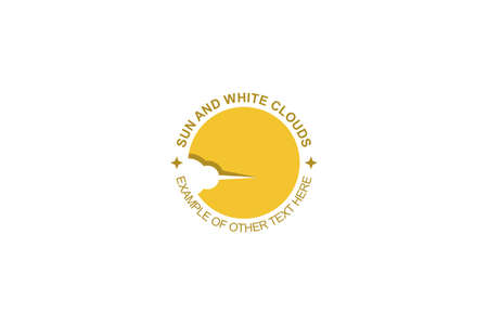 Circle yellow sun with cloud on negative space design concept, abstract business logo. 일러스트